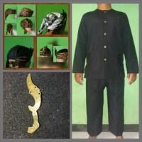 Paket - Stelan Baju Pangsi-katun pin Kujang Kuningan-Iket Blangkon.