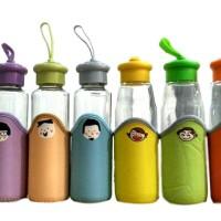 DISKON KHUSUS PINK Botol minum anak dewasa KACA motif lucu KHM130PK