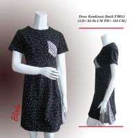 Jual BW58 Dress Kombinasi Batik Cap Lengan Panjang Wanita Unik Modern Murah
