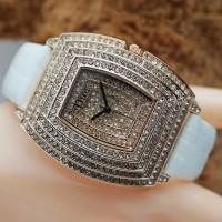 Jam Tangan Wanita/Cewek merk Dior Fashion full Permata Tali kulit semi