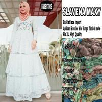 Long dress maxi wanita muslim brokat lace gaun pesta slavena XL