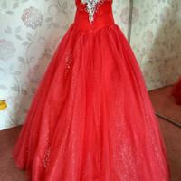 Gaun Pengantin Ballgown Merah Crystal Second