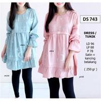 Dress Tunik Wanita Modern Gamis Satin Muslim Ramadhan DS743