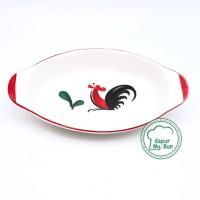 Mangkok Saji Oval - Motif Ayam Jago Seri 2