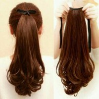 baru Hair Clip Ponytail Curly Panjang Ikat Tali wig ponytail rambut p