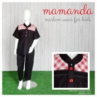 (2-3 tahun) KM Black Red Tartan Koko Anak Mamanda Baju Muslim Anak S