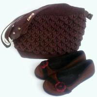 Tas Wanita Handmade Rajutan Satu Set dengan Sepatu / Hand Bag Cantik