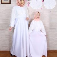 Baj Gamis Couple Ibu dan Anak - Gamis couple tiara m+k white