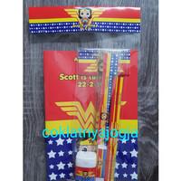 Goodie Bag Ultah Isi Buku & Alat Tulis isi 5 Tema Wonder Woman Chibi