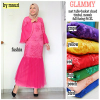 Long dress maxi wanita muslim gaun pesta brokat mewah XL