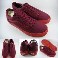 Sepatu Kets Vans Old Skool Pop Lite Maroon Sole Red Marun Merah