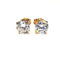 Anting Tusuk Simple Stud Solitaire Diamond 7 MM - Gold