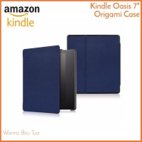 "Kindle Oasis 2 7"" Case Navy Biru Tua - Magnetic PU Leather Cover"