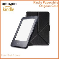 Kindle Paperwhite Origami Case Hitam - Magnetic PU Leather Cover