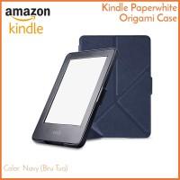Kindle Paperwhite Origami Case Biru Tua Navy - Magnetic PU Leather