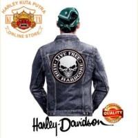 Jaket Boomber Kulit Harley Davidson Patch Atribut Bordir Series 5