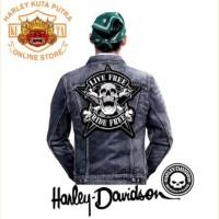 Jaket Parka Kulit Jaket Harley Davidson Patch Atribut Bordir Series 55