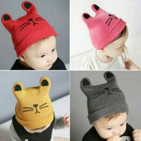 Topi kupluk bayi telinga kucing rajut keren korea baby beanie hat