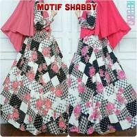 baju muslim wanita Gamis Motif Shabby Bunga |Busana Muslim Syari