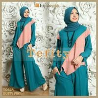 Baju wanita muslim tefi 3in1 pakaian stelan hijab gamis modis