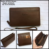 dompet pria pedro A7303 brown replica tas pria clutch pria handbag