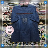 Blouse Semi Dress Soft Denim LD 132 cm Happy Big Size Jumbo Hijab