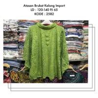 Blouse Brokat Lime Green LD120-140 Big Size Baju Pesta Muslim