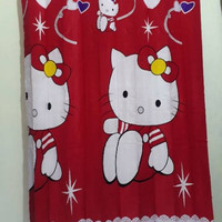 Hordeng / Gorden Karakter Pintu Jendela Minimalis Hello Kitty Red