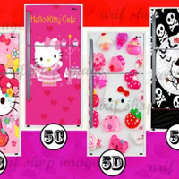 Wallpaper kulkas 2 pintu Motif Hello Kitty