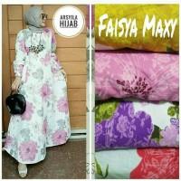 MENARIK Gamis motif bunga Dress hijab murah Pakaian wanita Faisya Max