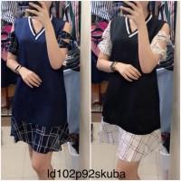 8feb9665057ba Jual MR102 midi dress cutoff shoulder dress casual scuba import Murah