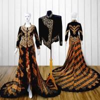 Kebaya Pengantin Akad Resepsi Bludru Batik Modern Set Hitam Emas