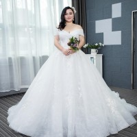 Gaun Pengantin 1803047 Putih Sabrina Ekor Big Size
