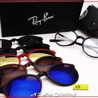 Frame Kacamata Minus R@yBan Clip-On 5 Lensa, kacamata Anti Radiasi