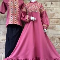 baju muslim couple keluarga gamis dan koko bahan baloteli untuk pesta
