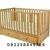 Tempat Tidur Baby, Ranjang Bayi Dari Kayu Jati Minimalis Free Ongkir