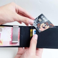 Jual Simple Money Clip Leather Slim Wallet Dompet Tipis Pria Wanita