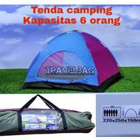 Tenda camping dome kapasitas 6 orang plus alas terpal dengan jendela