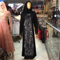 gamis hikmat loreng model hijab muslim wanita hikmat