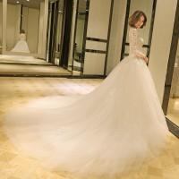 Gaun Pengantin 1803053 Putih Lengan Panjang Ekor Wedding Gown