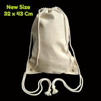 Jual Tas Serut Kanvas Ransel Drawstring Bag Backpack Polos 29 x 38 Cm Murah
