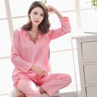baju tidur wanita nightdress cewek pink muda bahan satin