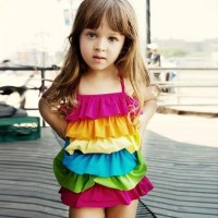 Bikini Anak Bayi Lucu Cewek Swimsuit Swimwear Baju Renang Rainbow Bra