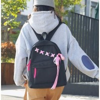 Ransel Pink Hitam Punggung Anak Kuliah Wanita Sekolah Cewek Backpack