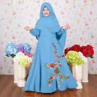 [Syari Anak Nastusha Biru Muda SW] baju muslim anak perempuan jersey