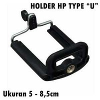 Holder U Clamp HP Tongsis Monopod Tripod Penjepit Handphone - Black