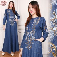 Jual Maxi Dress Luna Gamis Jeans Bordir Murah