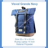 Tas Ransel Laptop Kerja Kuliah Pria Wanita Visval Grande Navy Original