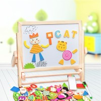 Maninan Edukasi Anak - Puzzle Magnetic Double Sided Drawing Board Kayu