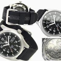 Jual Seiko 5 sport SNZG15K1 Nylon Black Jam tangan Pria Original Automatic Murah